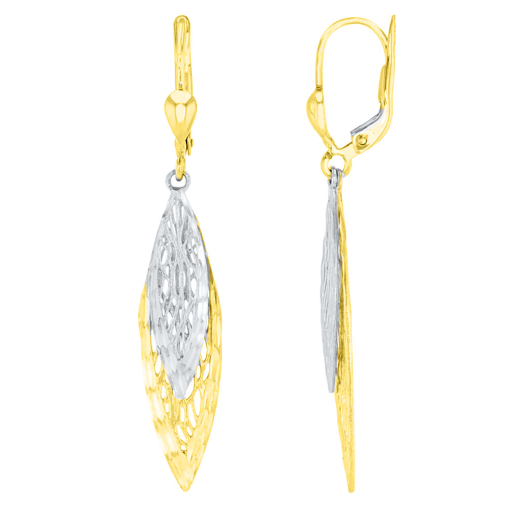 Textured 14K Two Tone Gold Fancy Double Leaf Drop Dangle Earrings