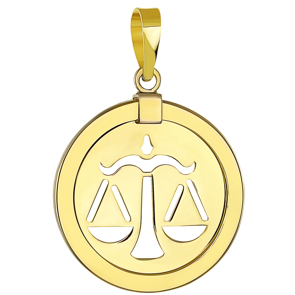 14K Yellow Gold Reversible Round Libra Scale Zodiac Sign Pendant