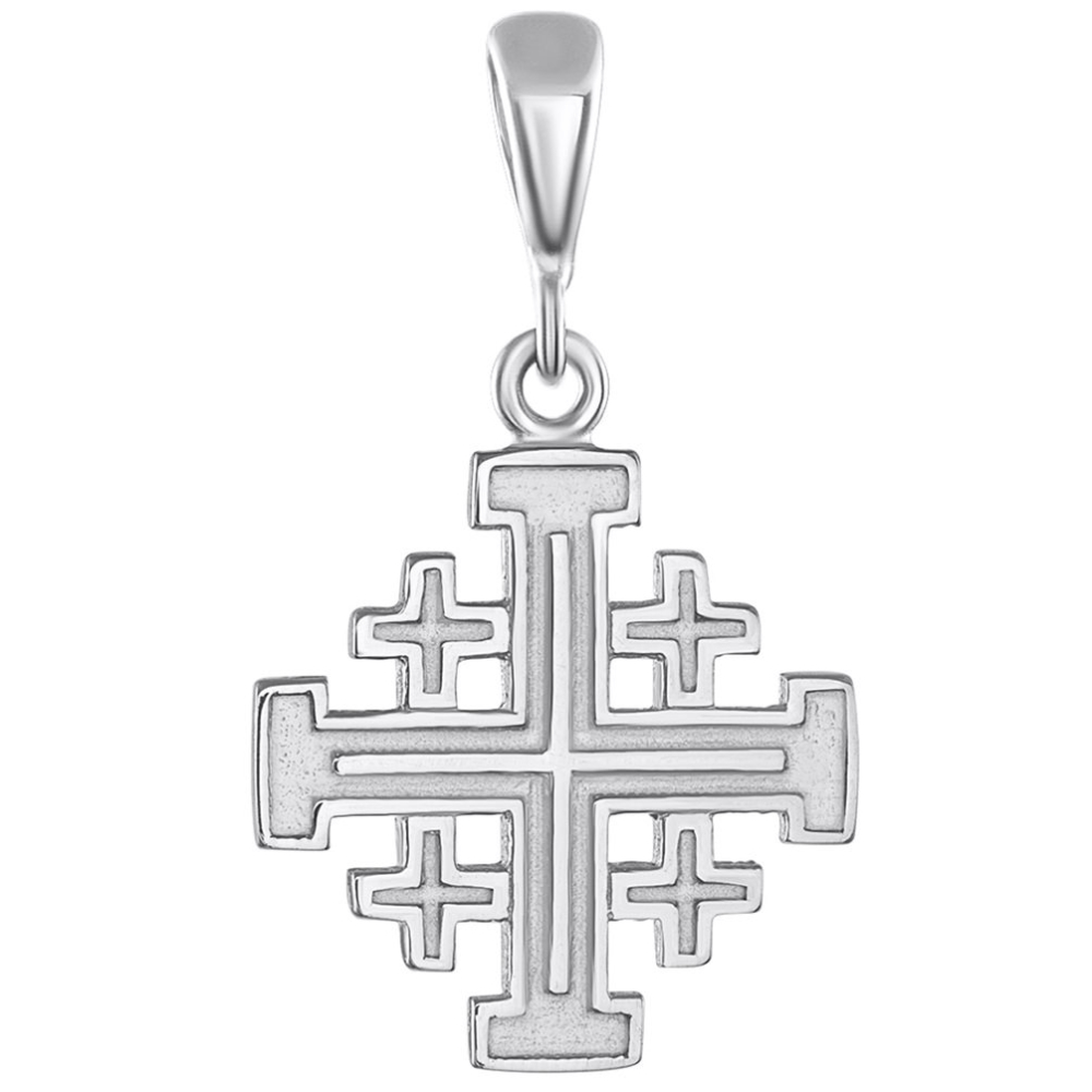 Solid 14K White Gold Crusaders Jerusalem Cross Pendant