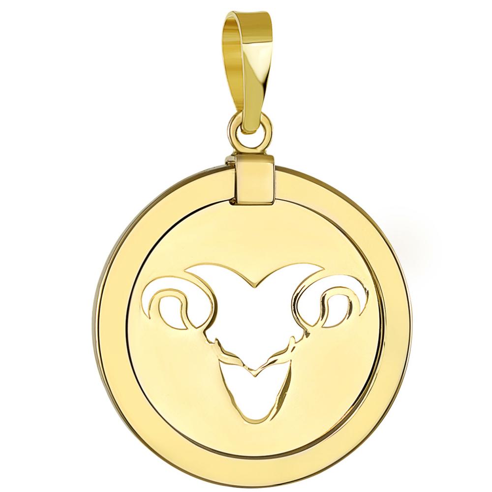 14K Yellow Gold Reversible Round Ram Aries Zodiac Sign Pendant