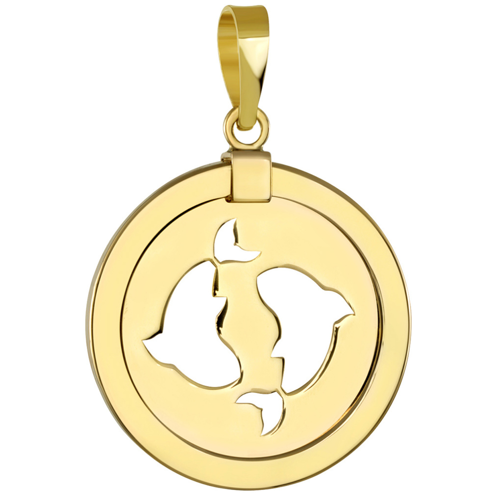 14K Yellow Gold Reversible Round Pisces Zodiac Sign Pendant