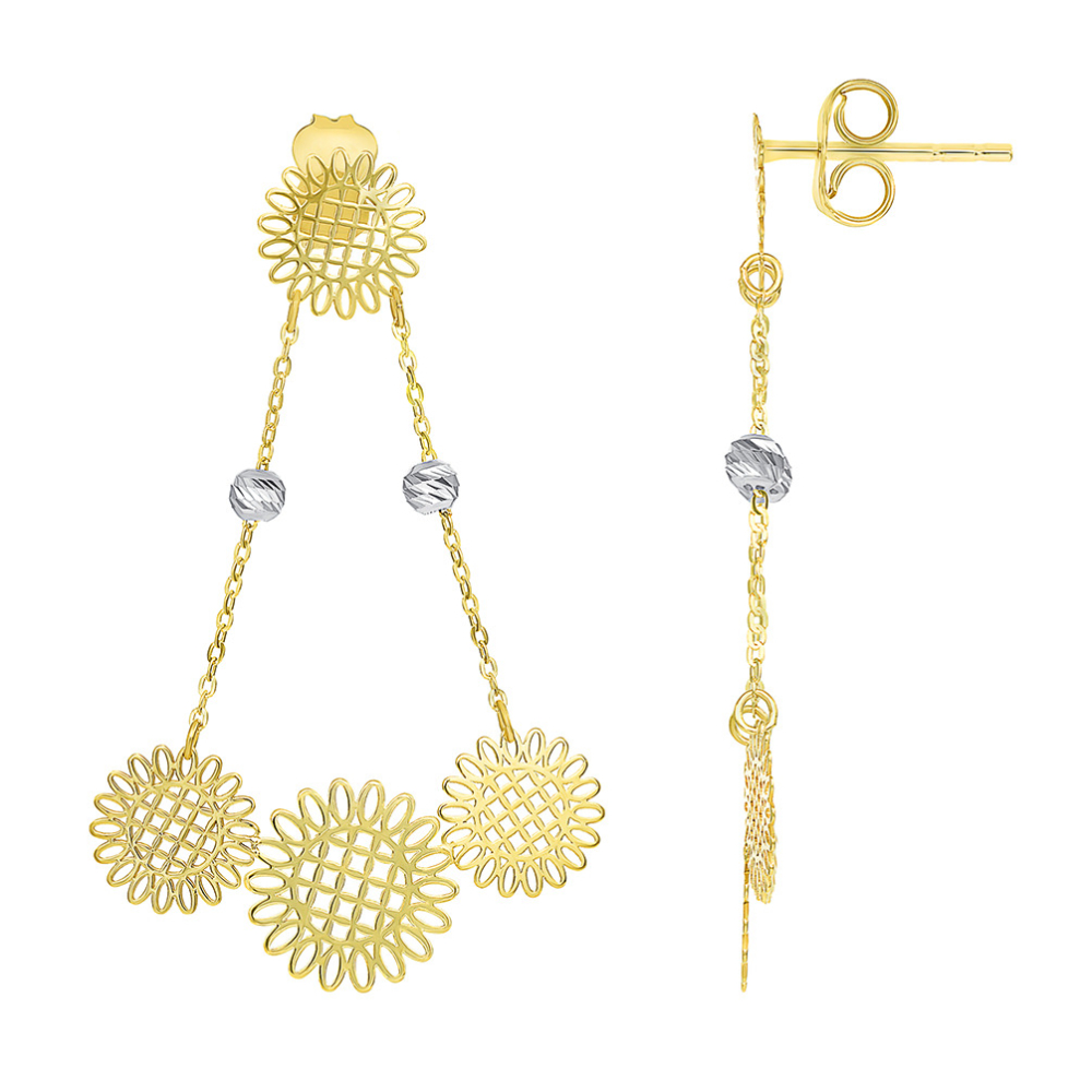 14k Yellow Gold and White Gold Beaded Chain Boho-Chic Chandelier Drop Earrings with Friction Back