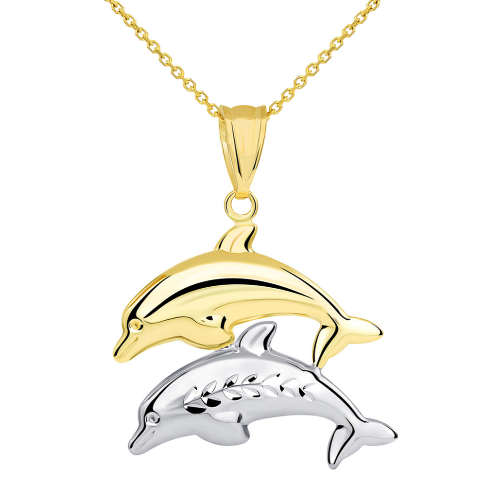14k Yellow Gold and White Gold Two Tone 3D Dolphins Jumping Pendant Necklace