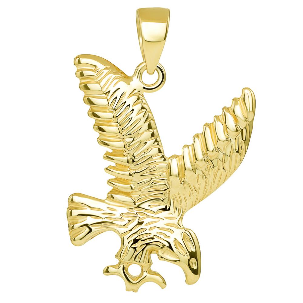 14k Solid Yellow Gold Soaring American Eagle Animal Pendant