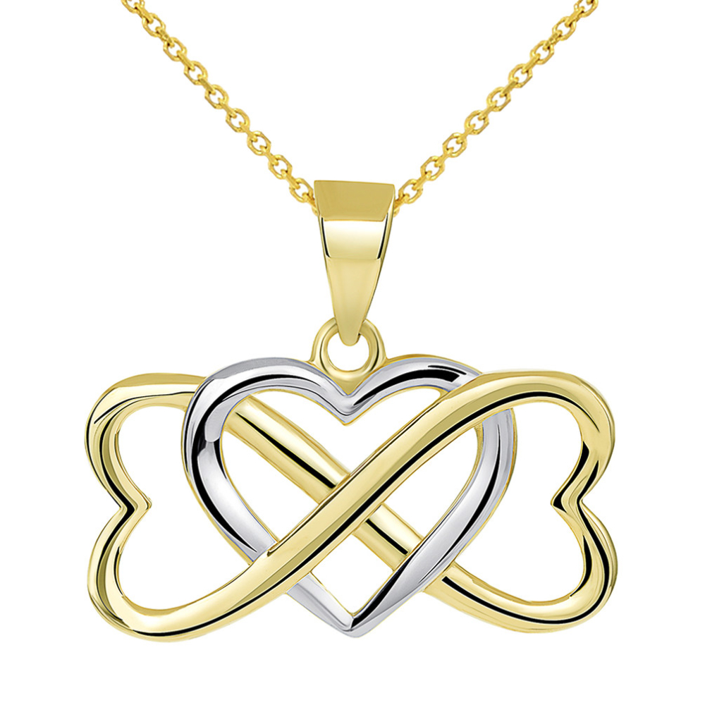 14k Yellow Gold Two Tone Interlocking Triple Heart Infinity Love Symbol Pendant Necklace