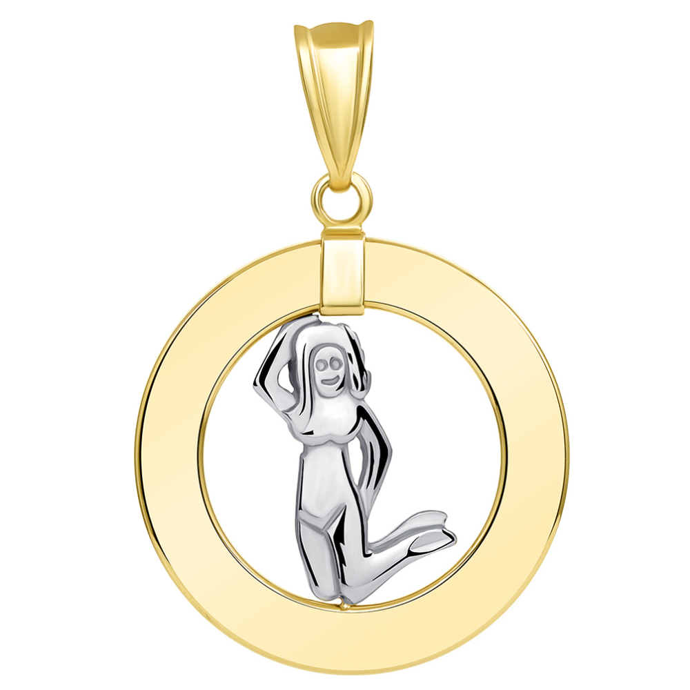 14k Two Tone Gold Open Circle Virgo Zodiac Sign Pendant