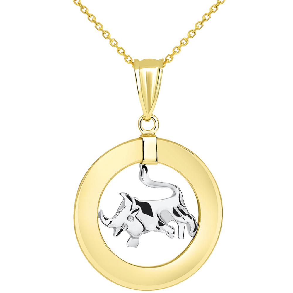 14k Two Tone Gold Open Circle Taurus Zodiac Sign Pendant Necklace