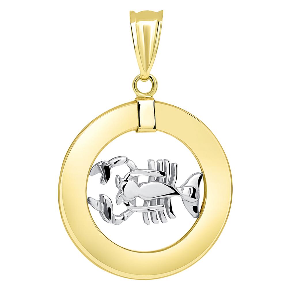 14k Two Tone Gold Open Circle Cancer Zodiac Sign Pendant
