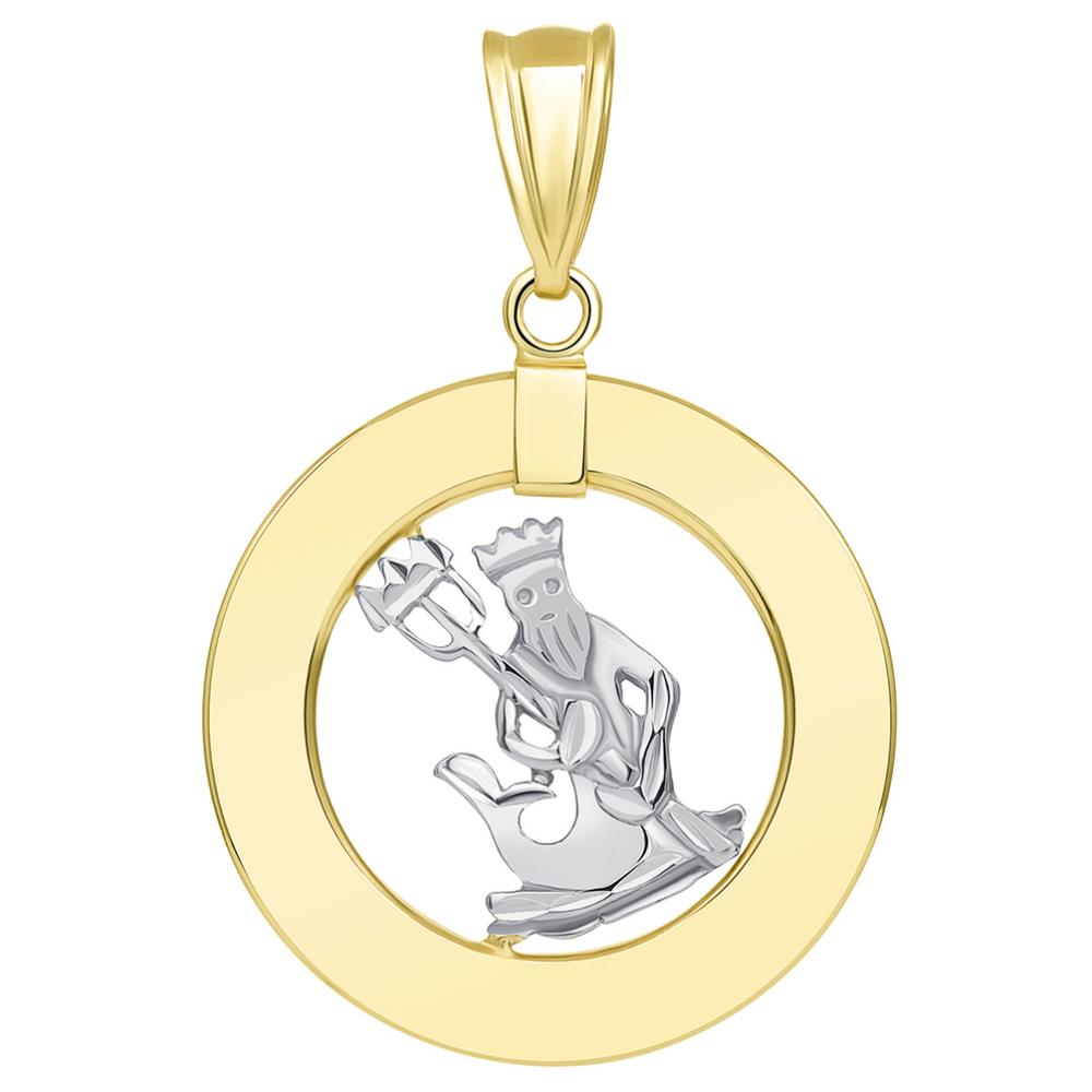 14k Two Tone Gold Open Circle Aquarius Zodiac Sign Pendant