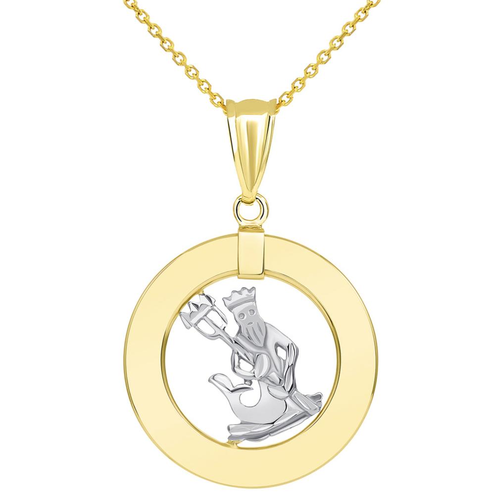 14k Two Tone Gold Open Circle Aquarius Zodiac Sign Pendant Necklace