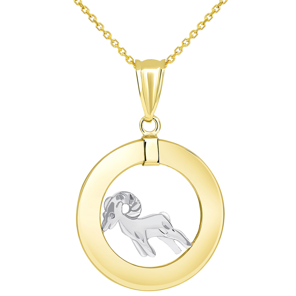 14k Two Tone Gold Open Circle Aries Zodiac Sign Pendant Necklace