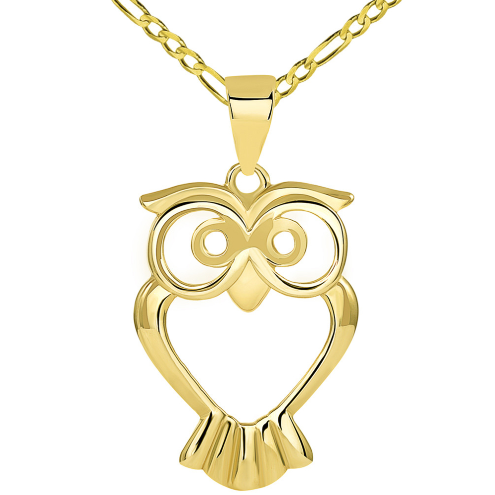 Solid 14K Yellow Gold Open Big Eyes Owl Animal Pendant with Figaro Chain Necklace
