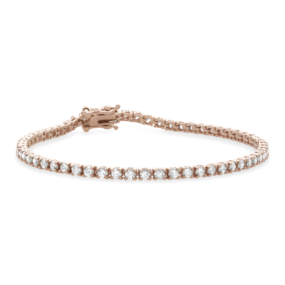 round diamond tennis bracelet in rose gold