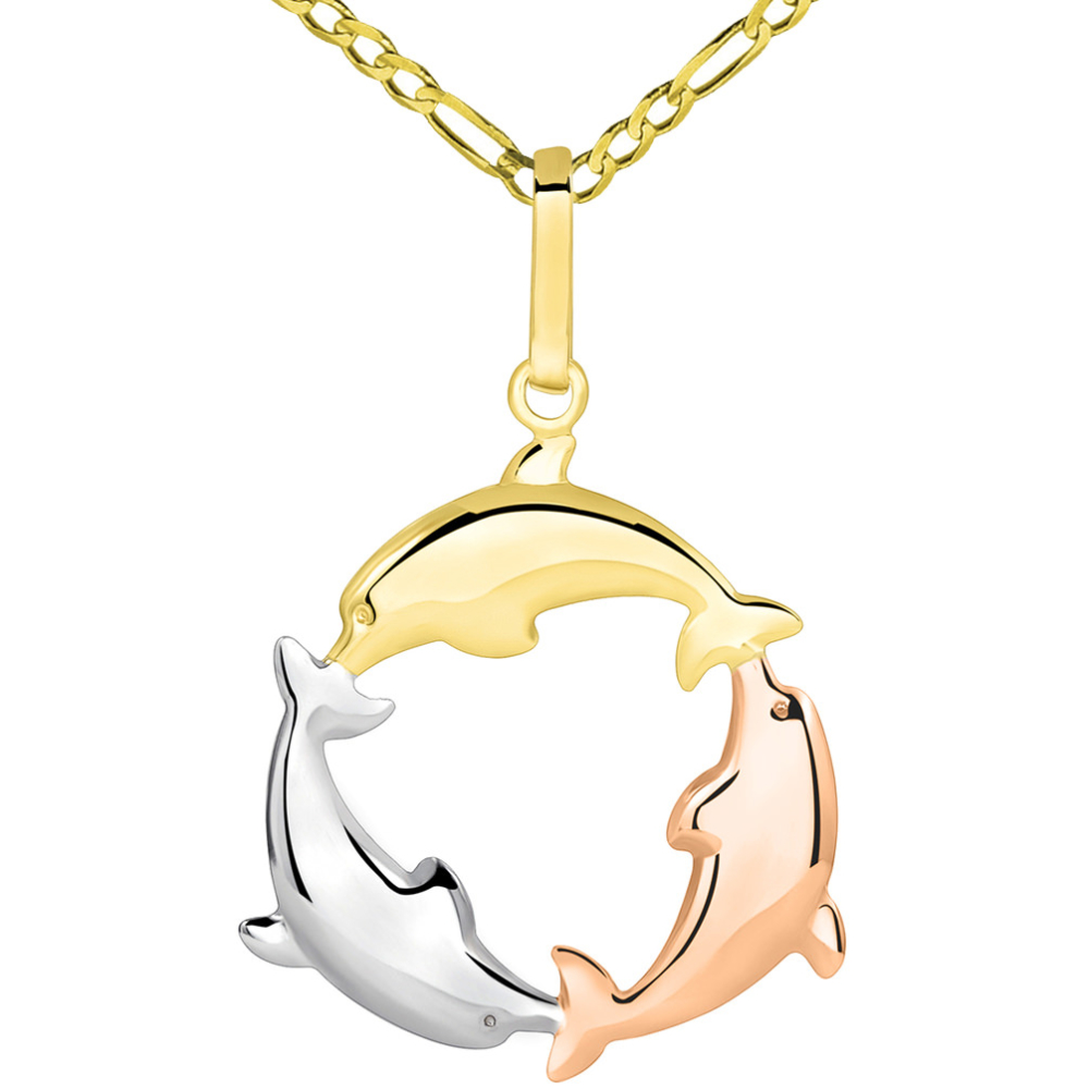 14k Tri Color Gold 3D Three Dolphins Jumping Around Circle Pendant Figaro Necklace