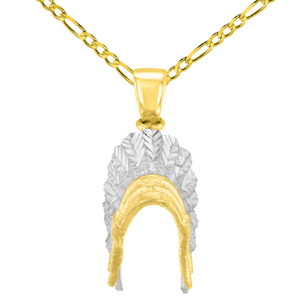 Solid 14K Yellow Gold War Bonnets Charm Native American Pendant with Figaro Chain Necklace