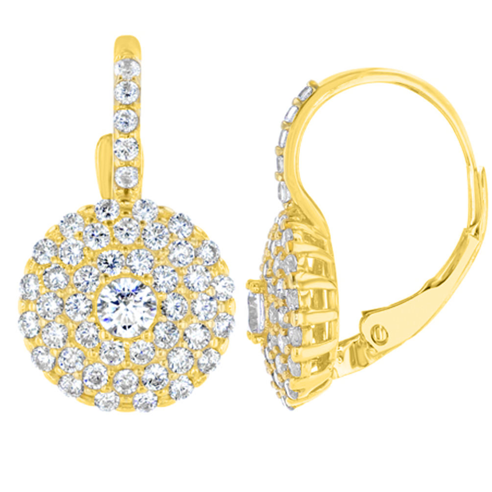 14K Yellow Gold Round Pave CZ Studded Dangling Drop Earrings