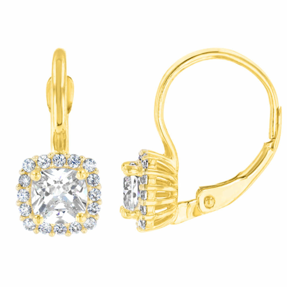 14K Yellow Gold Pave Square CZ Solitaire Dangling Drop Earrings