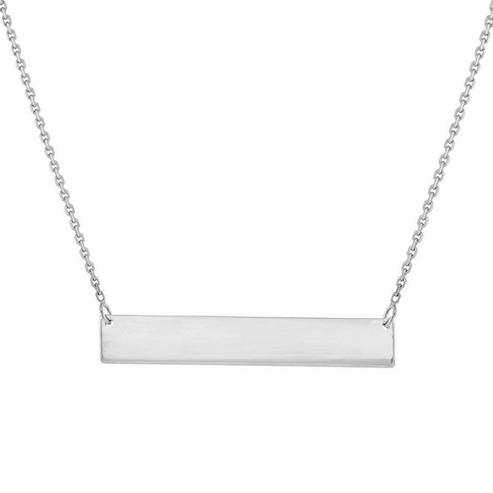 Solid 14k White Gold Engravable Bar Pendant Necklace