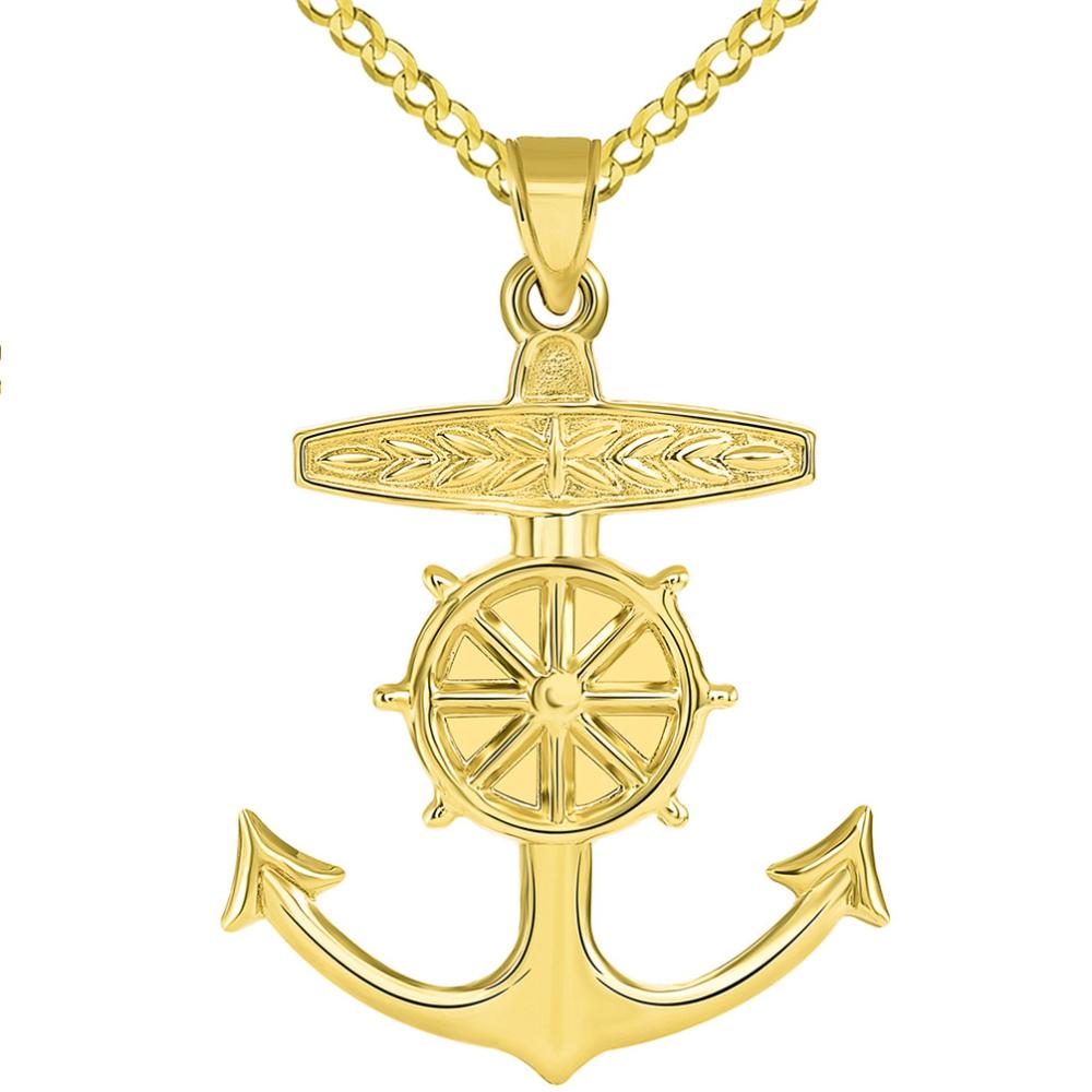 14k Yellow Gold 3D Ship Anchor and Wheel Nautical Pendant Cuban Necklace