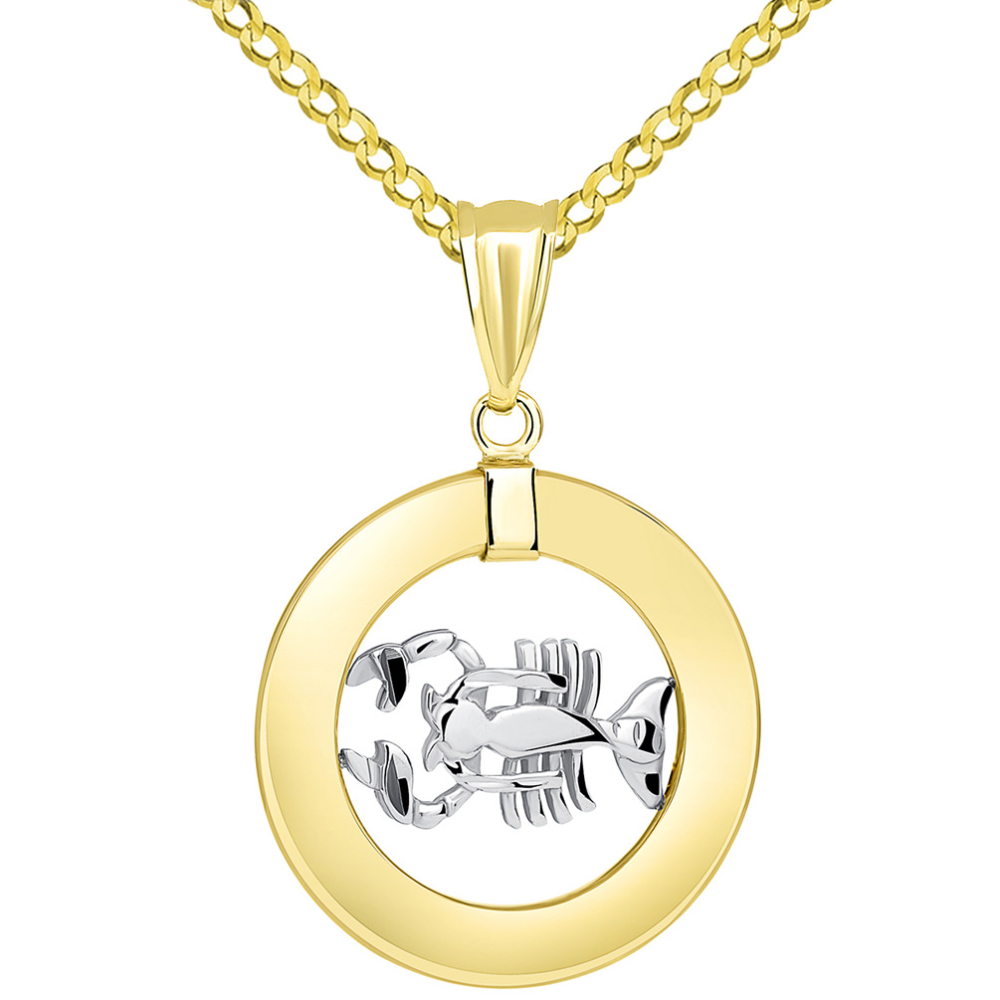 14k Two Tone Gold Open Circle Cancer Zodiac Sign Pendant Cuban Necklace