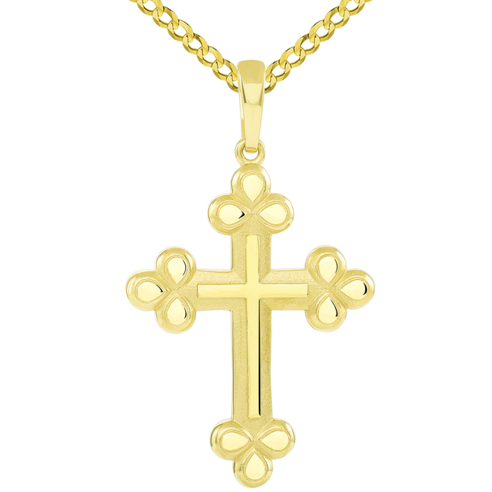 14k Yellow Gold Polished and Matte Finish Christian Eastern Orthodox Cross Pendant with Cuban Necklace