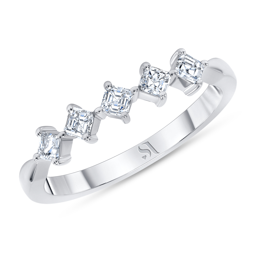 asscher cut diamond ring white gold