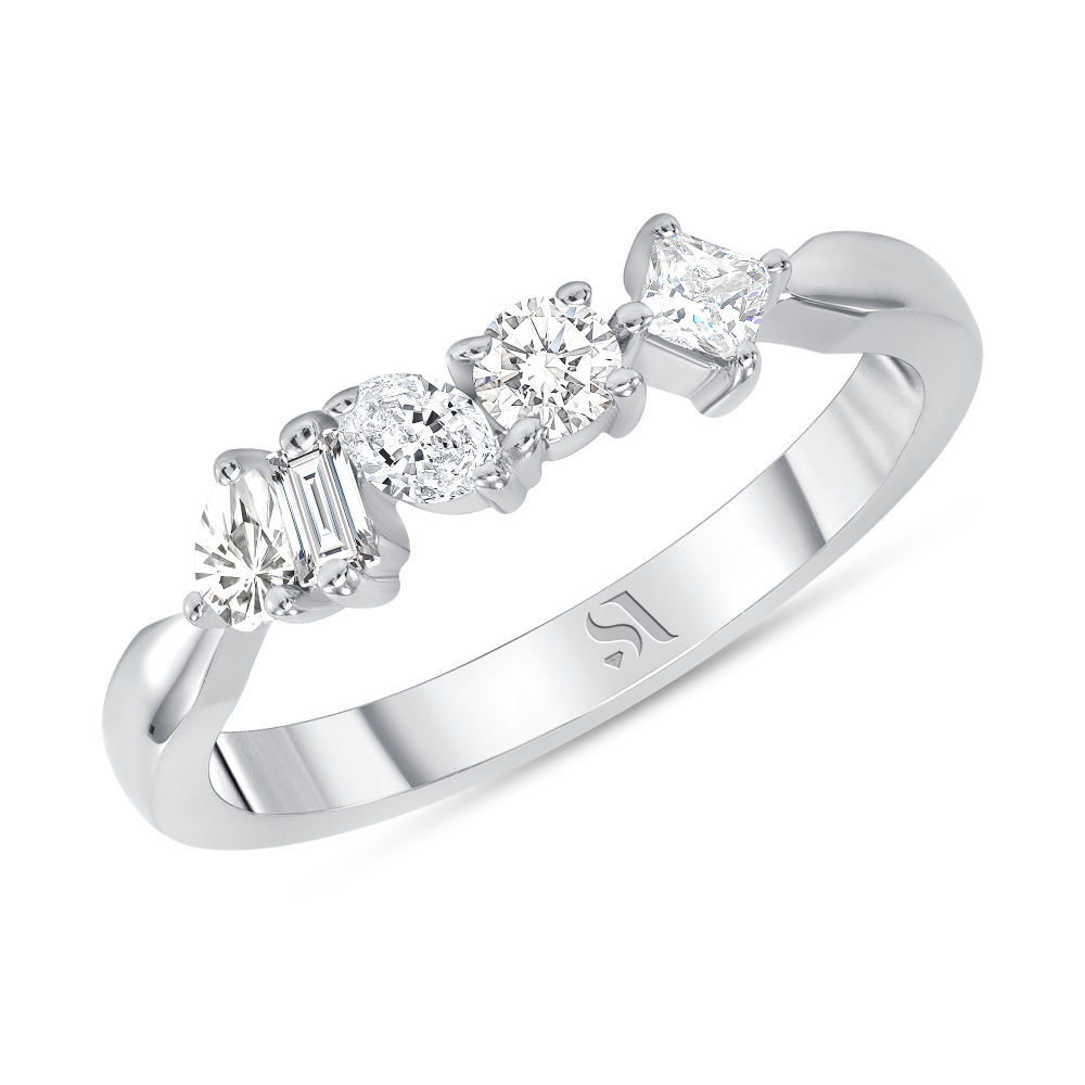 Fancy shape diamond ring white gold