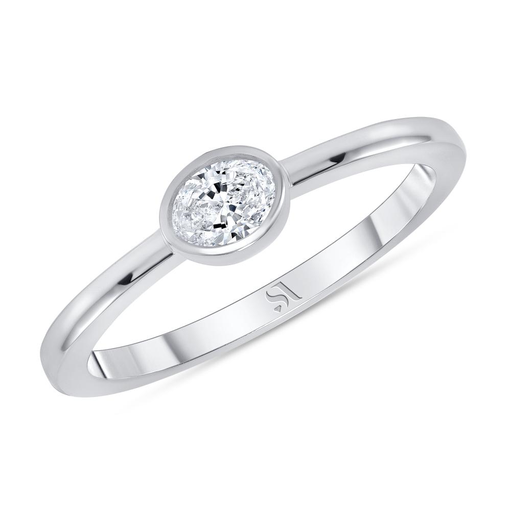 bezel set oval diamond ring white gold