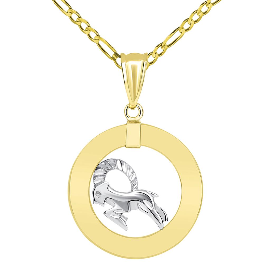 14k Two Tone Gold Open Circle Capricorn Zodiac Sign Pendant Figaro Chain Necklace
