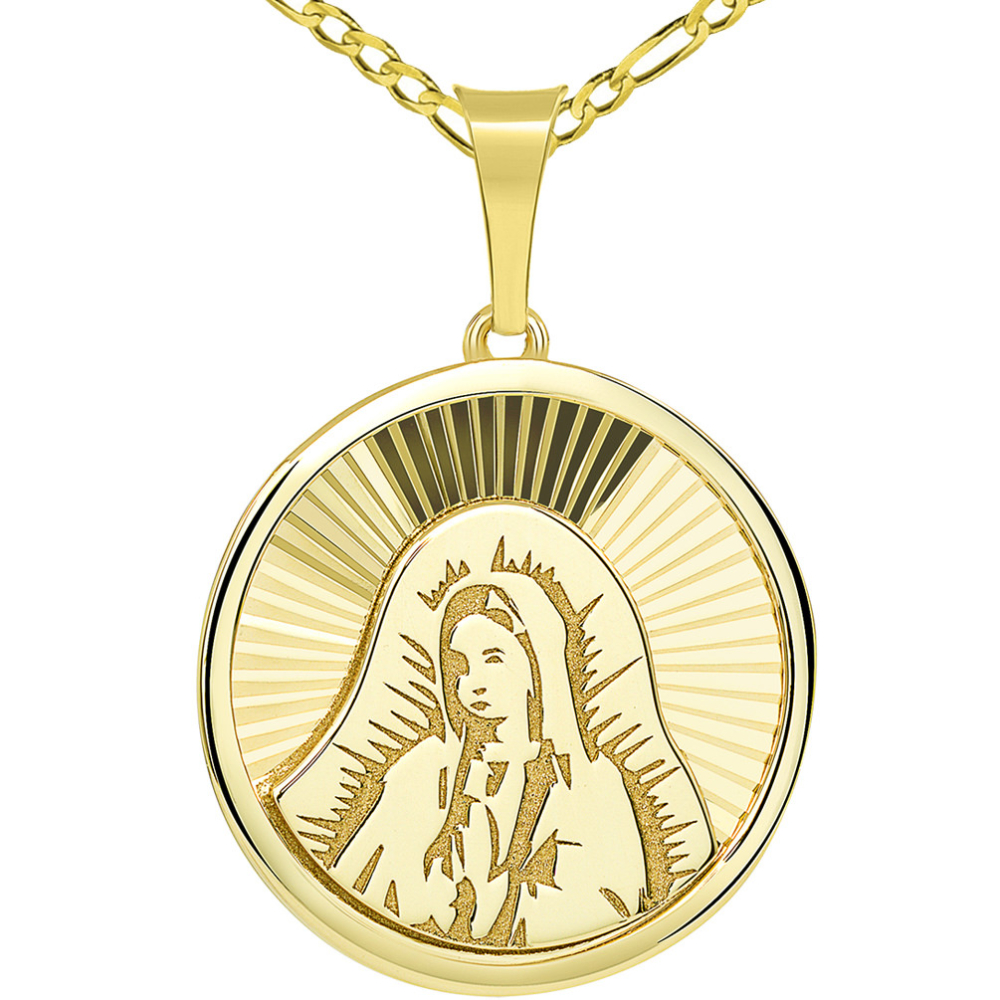 14k Yellow Gold Hand Engraved Our Lady Of Guadalupe Miraculous Round Medal Pendant with Figaro Chain Necklace
