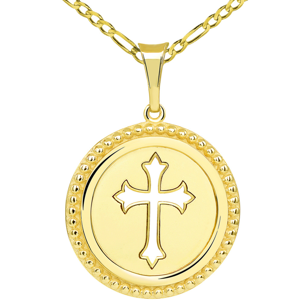 14k Yellow Gold Reversible Open Christian Cross Medallion Pendant with Figaro Link Chain Necklace