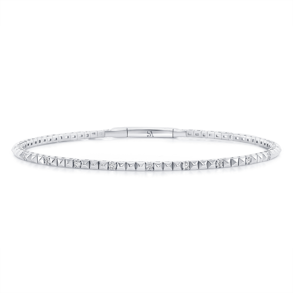14k pyramid bracelet white gold