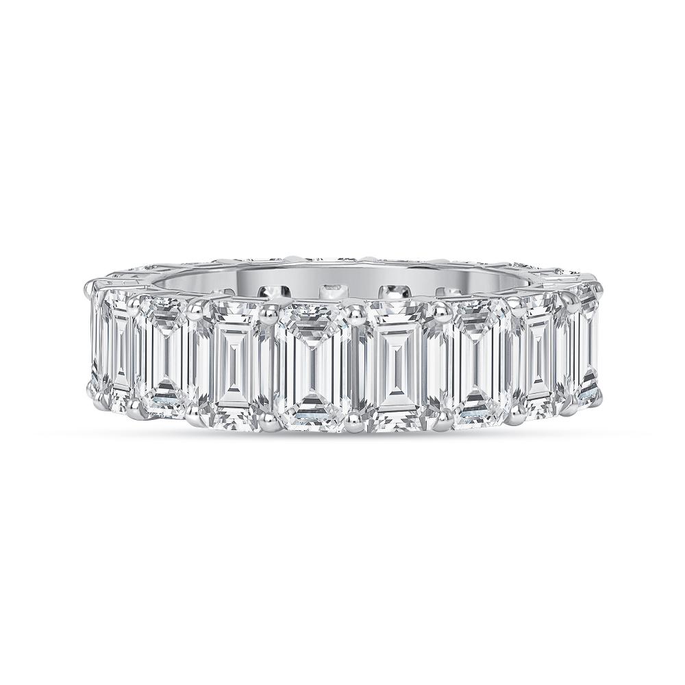 emerald and diamond wedding ring white gold