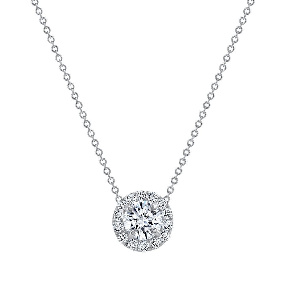 round diamond halo pendant necklace | diamond halo pendant