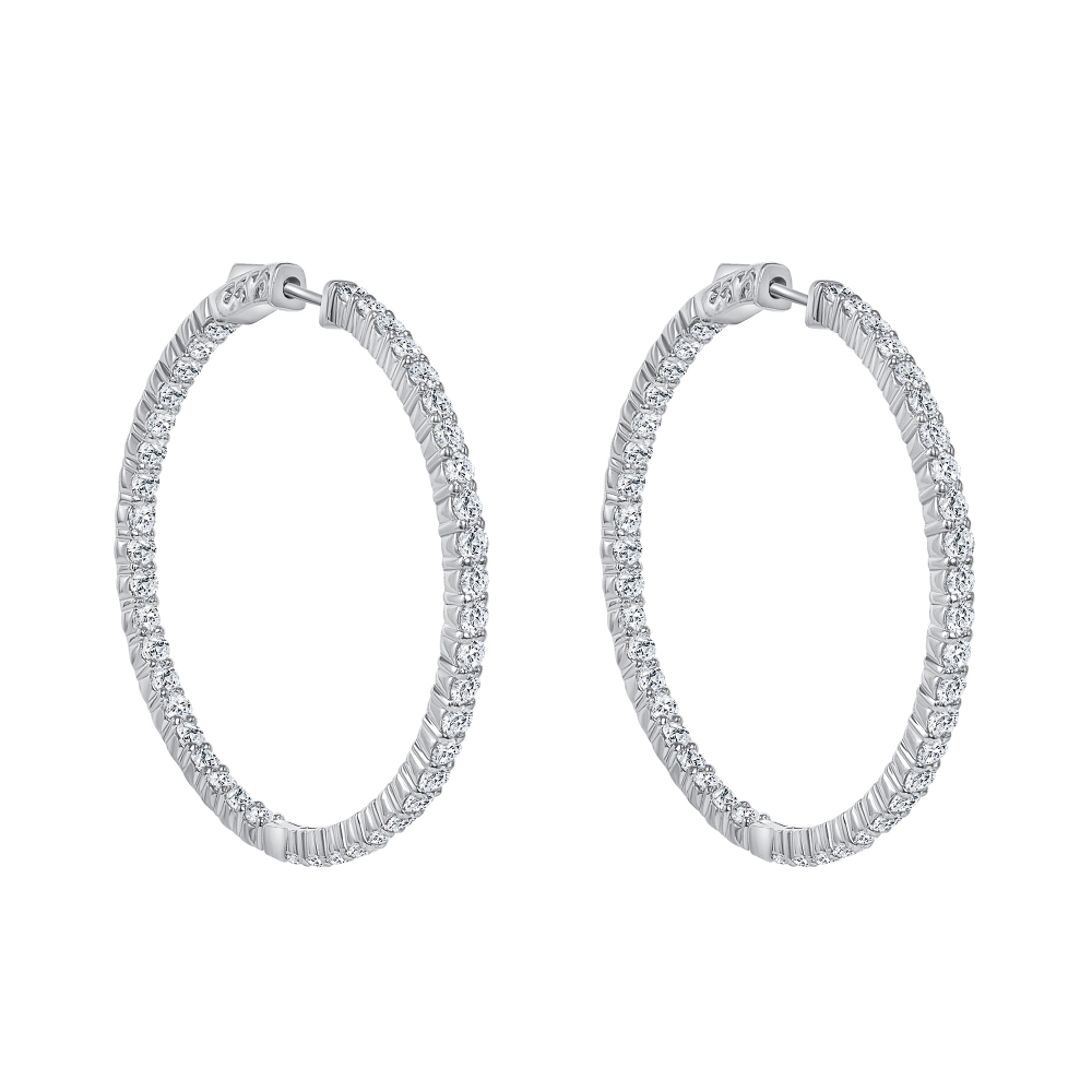 14k yellow gold diamond hoop earrings | diamond accent earrings 14k gold hoops
