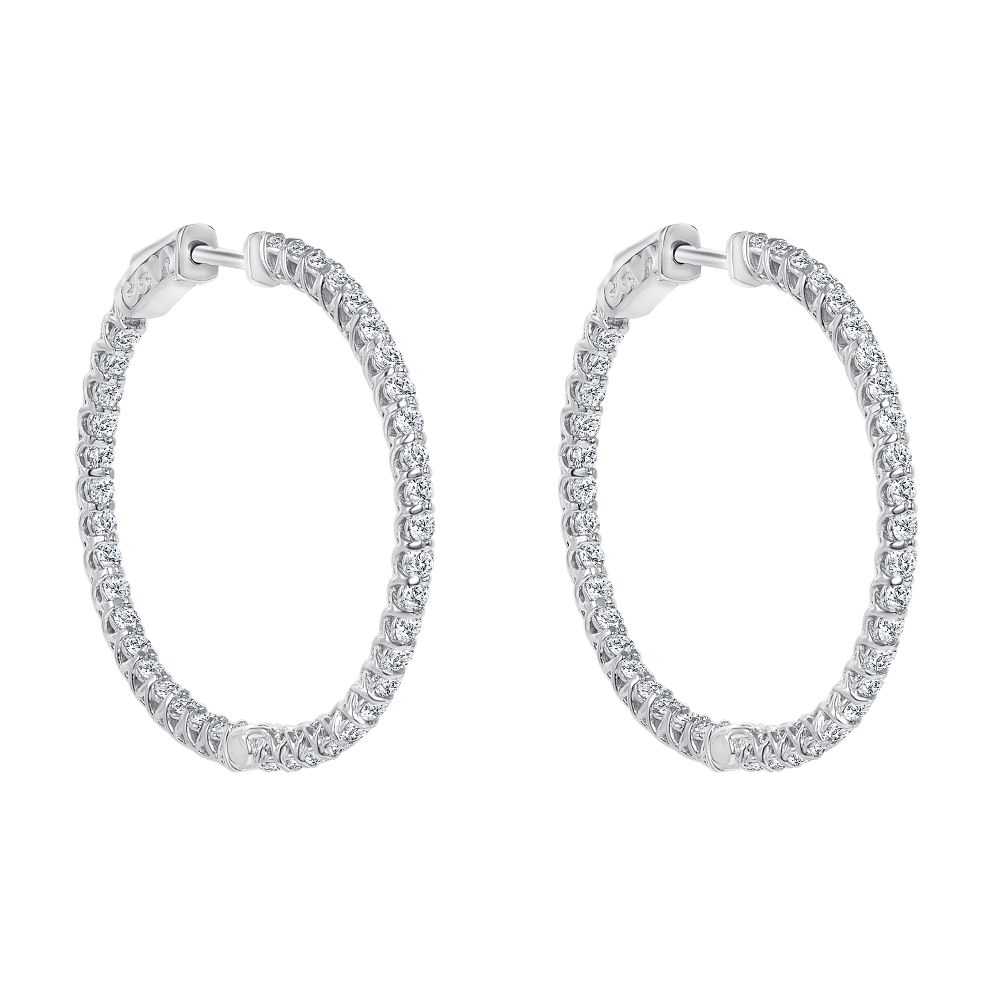 circular diamond hoops earrings | round diamond hoop earrings