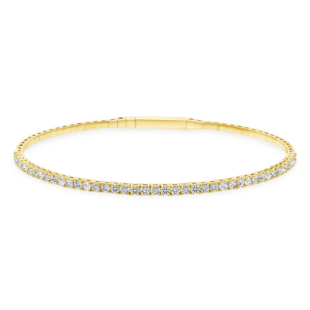 18k Gold & Round Diamond Flexible Bangle