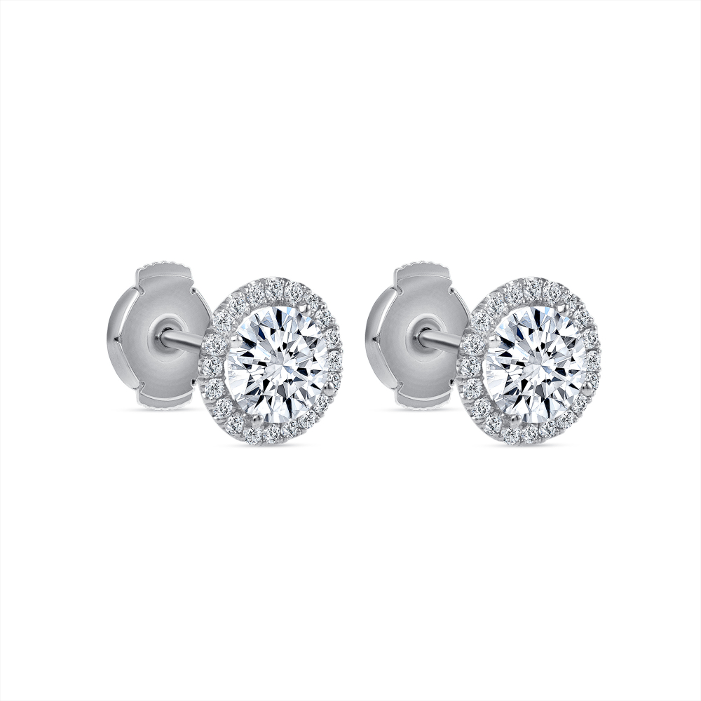 round halo stud earrings | diamond halo stud earrings
