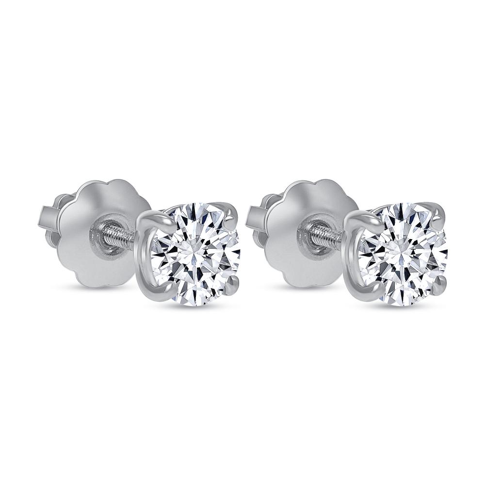 4 prong diamond stud earrings | round solitaire diamond stud earrings