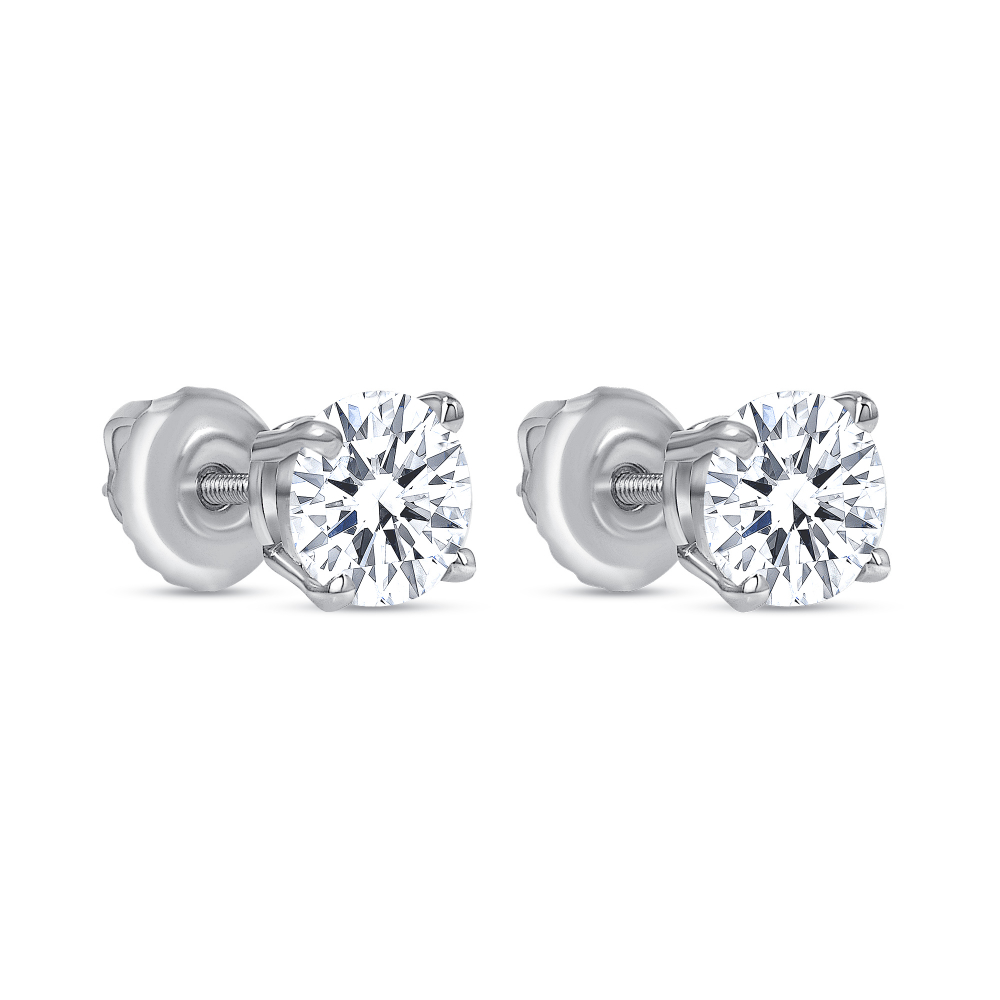 solitaire diamond stud earring white gold