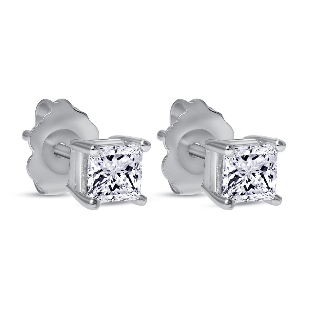 princess cut diamond solitaire stud earrings