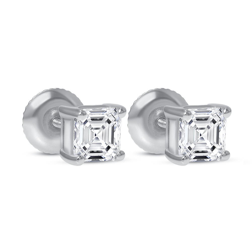 asscher cut diamond stud earrings | 1 carat asscher cut diamond stud earrings