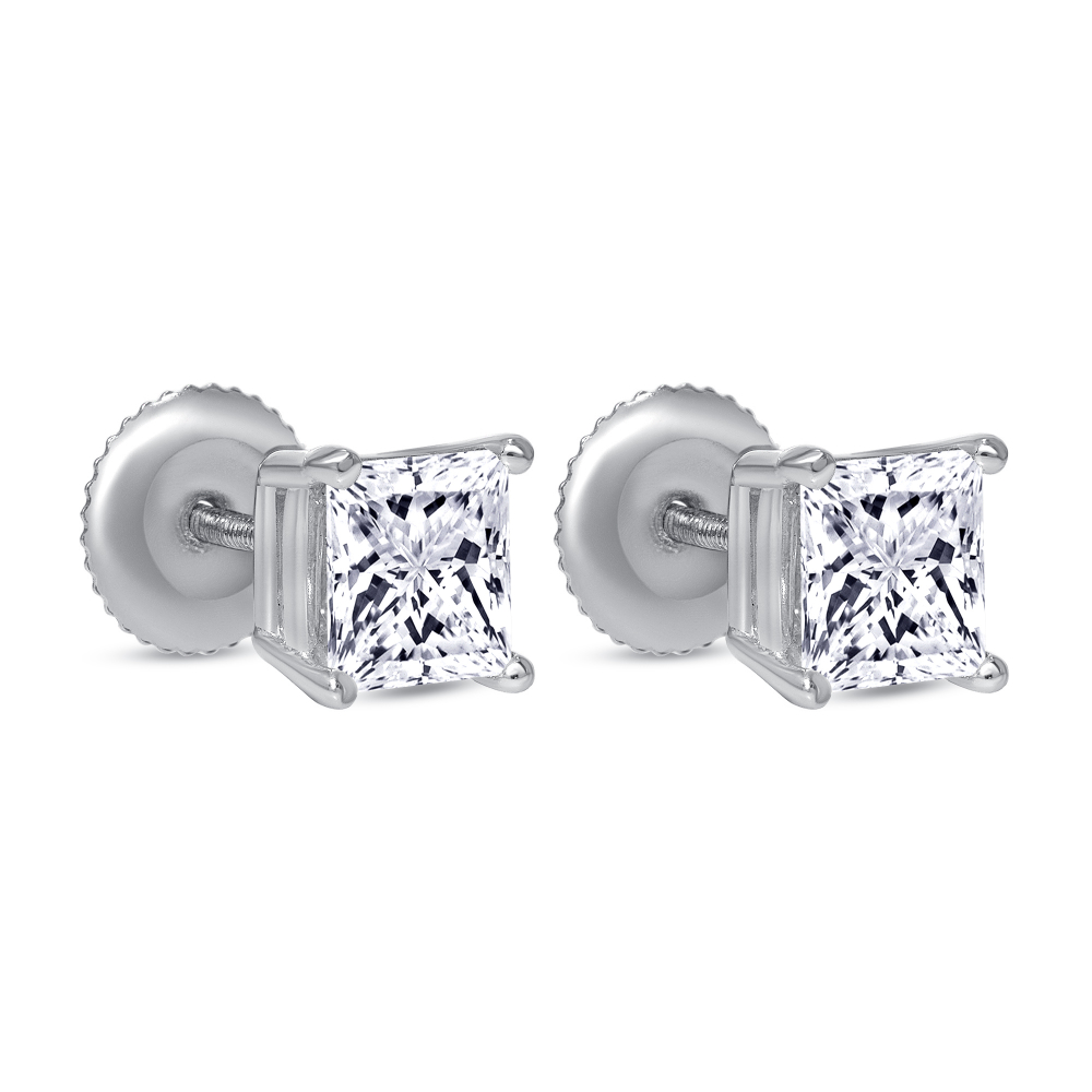 large princess cut diamond stud earrings