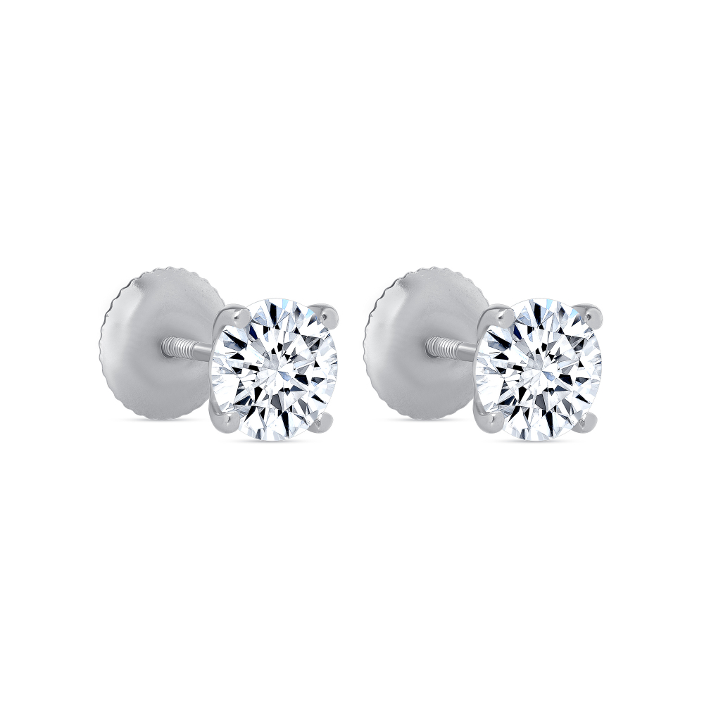 genuine 14k gold 1.5 ct round brilliant cut solitaire stud earrings