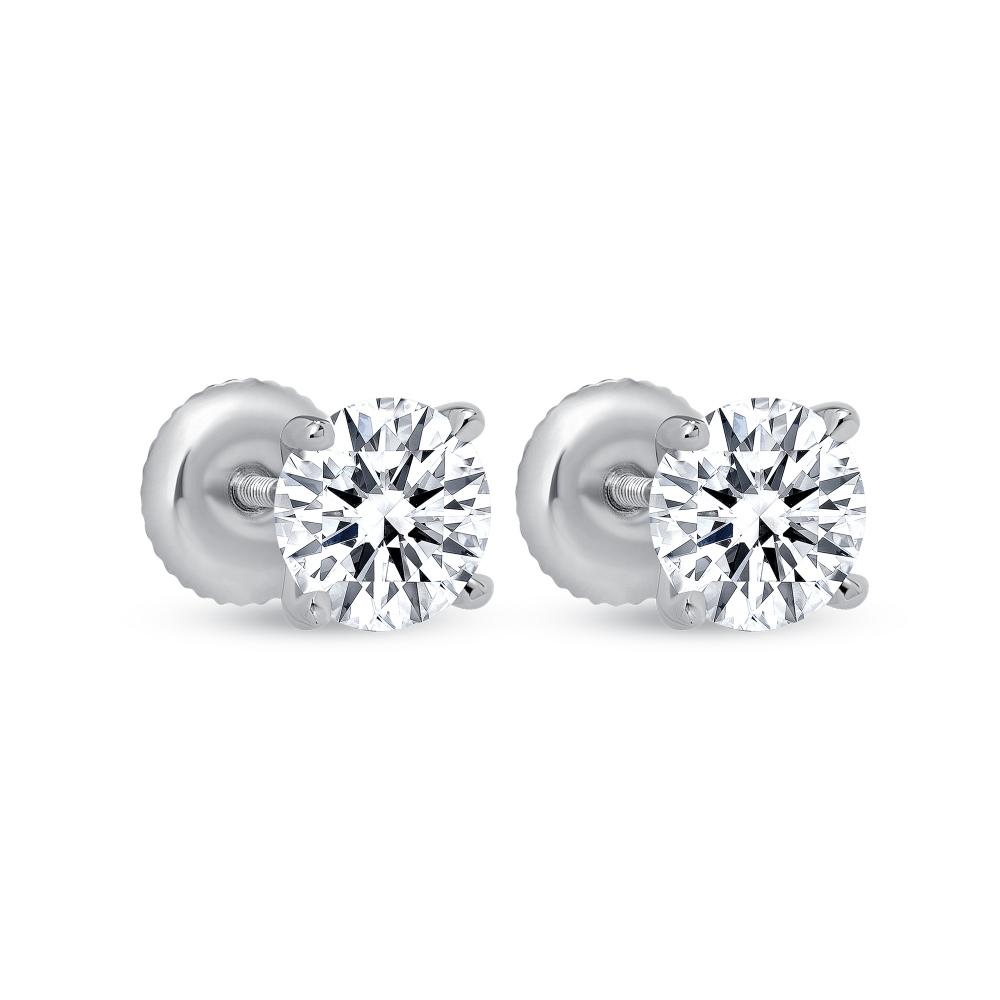2 carat solitaire diamond earrings | 2 carat round diamond earrings