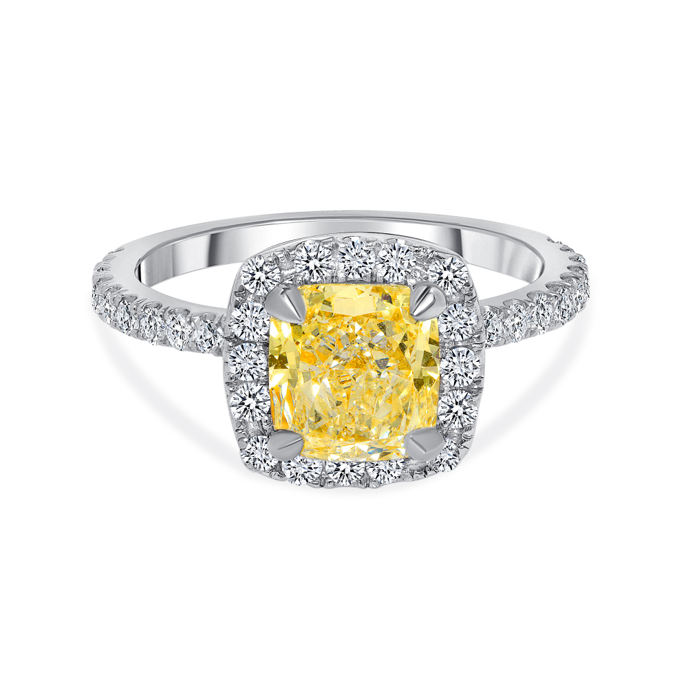 two tone cushion cut engagement rings white gold