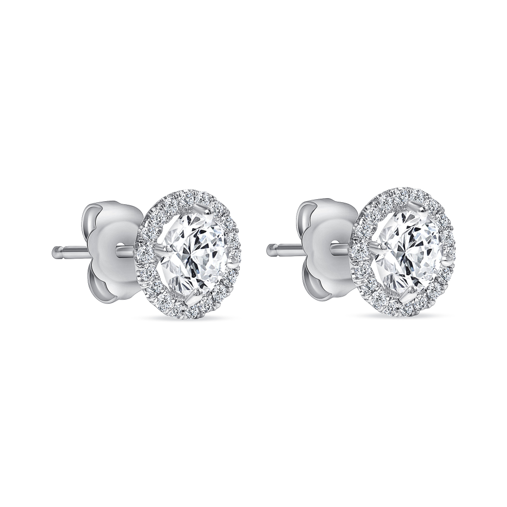diamond stud gold earrings with halo