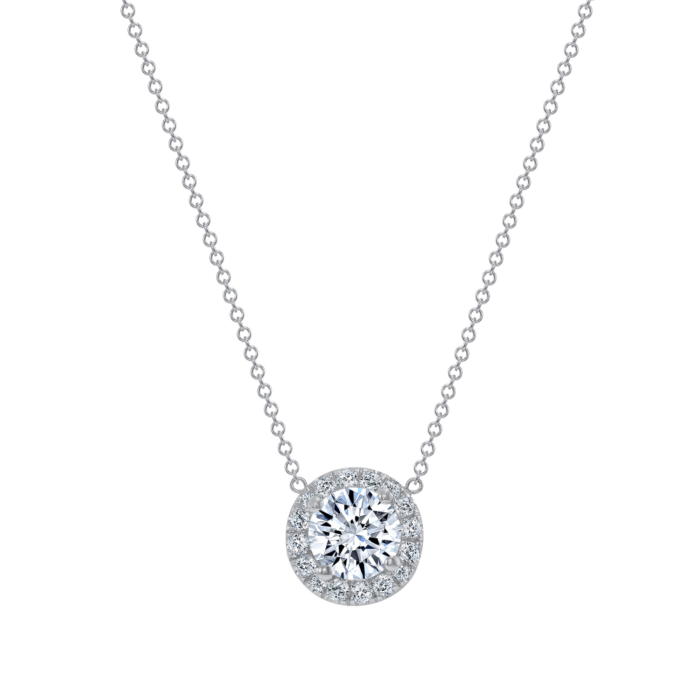 diamond halo pendant necklace | halo pendant necklace