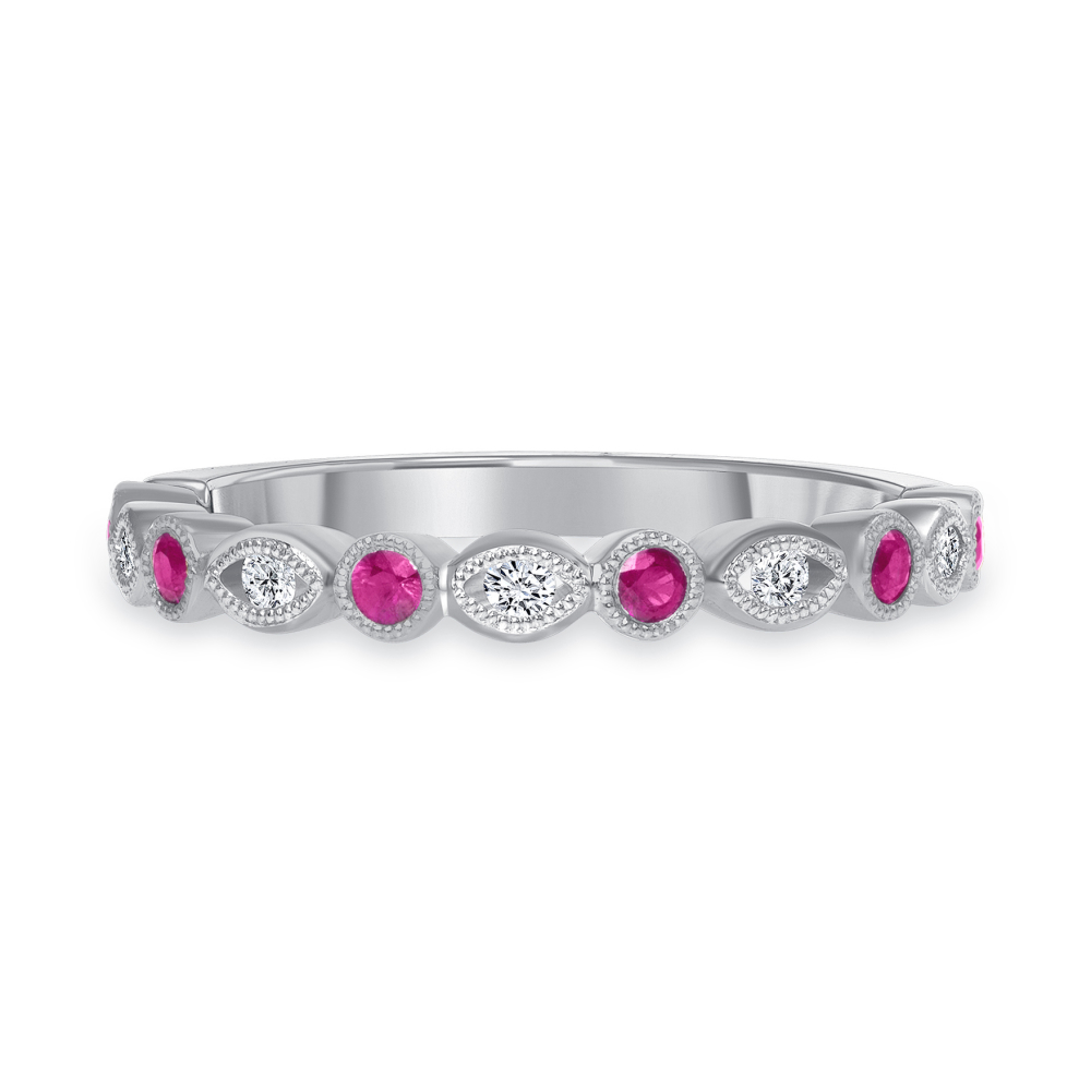 White gold diamond ruby ring  | Diamond Collection Inc