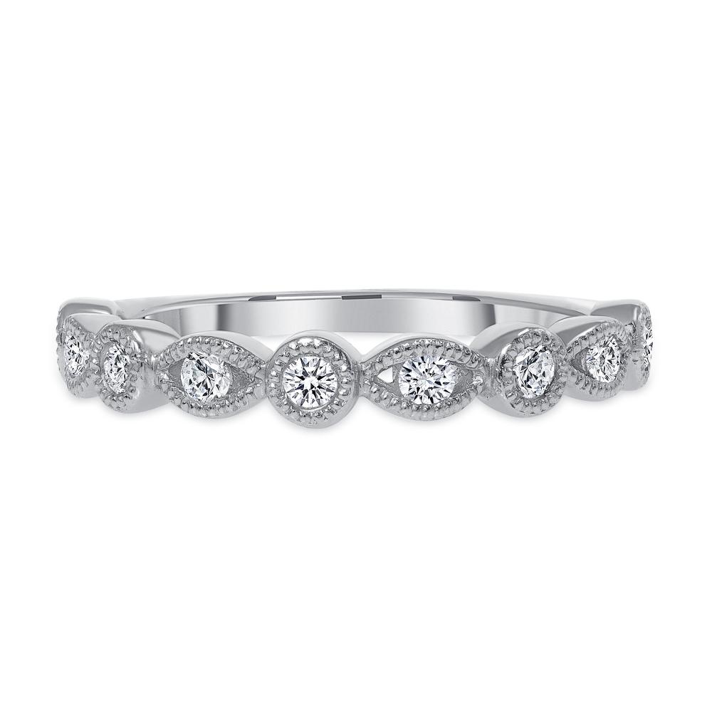 Half round wedding band white gold | Diamond Collection Inc